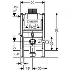 Geberit Duofix - element montażowy do WC podwieszanego, UP200, H82