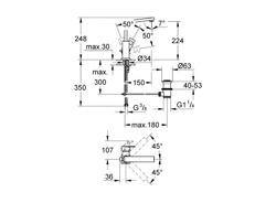 Grohe Eurocube - bateria umywalkowa stojąca, wysoka