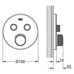 Grohe Grohtherm SmartControl - bateria podtynkowa do 2 wyjść wody, okrągła, szkło akrylowe