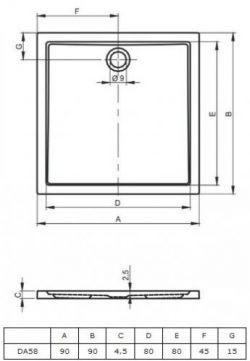 RIHO 250 - brodzik płaski 90 x 90 cm, montaż bezpośrednio na posadzce