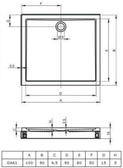 RIHO 253 - brodzik płaski 100 x 90 cm + nóżki i panel