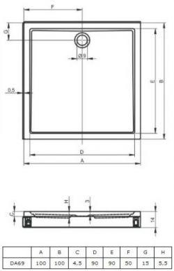 RIHO 261 - brodzik płaski 100 x 100 cm + nóżki i panel