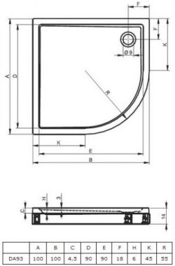 RIHO 285 - brodzik płaski  100 x 100 cm R=55 cm + nóżki i panel