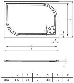 RIHO Kolping 120 x 80 - brodzik prostokątny + syfon i nóżki