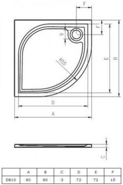 RIHO Kolping 80 x 80 cm - brodzik 1/4 koła + syfon i nóżki