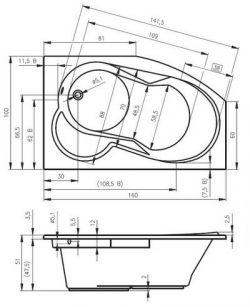 RIHO Nora - wanna narożna asymetryczna 160 x 100 cm lewa