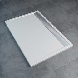 Sanswiss ILA WIA - brodzik prostokątny 90 x 100 cm, czarny granit, pokrywa biała