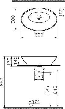 Vitra GEO - umywalka nablatowa, owalna 60 x 38 cm