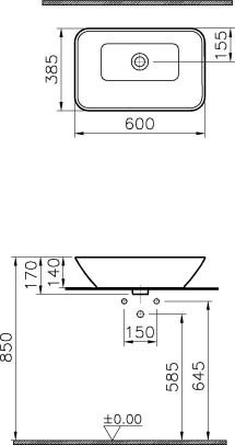 Vitra GEO - umywalka nablatowa, prostokątna 60 x 38,5 cm