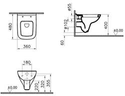 Vitra S20 - miska WC podwieszana + deska wolnoopadająca